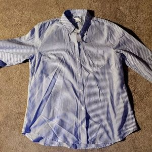 Gap Women's Blue Stripe Button Down Shirt